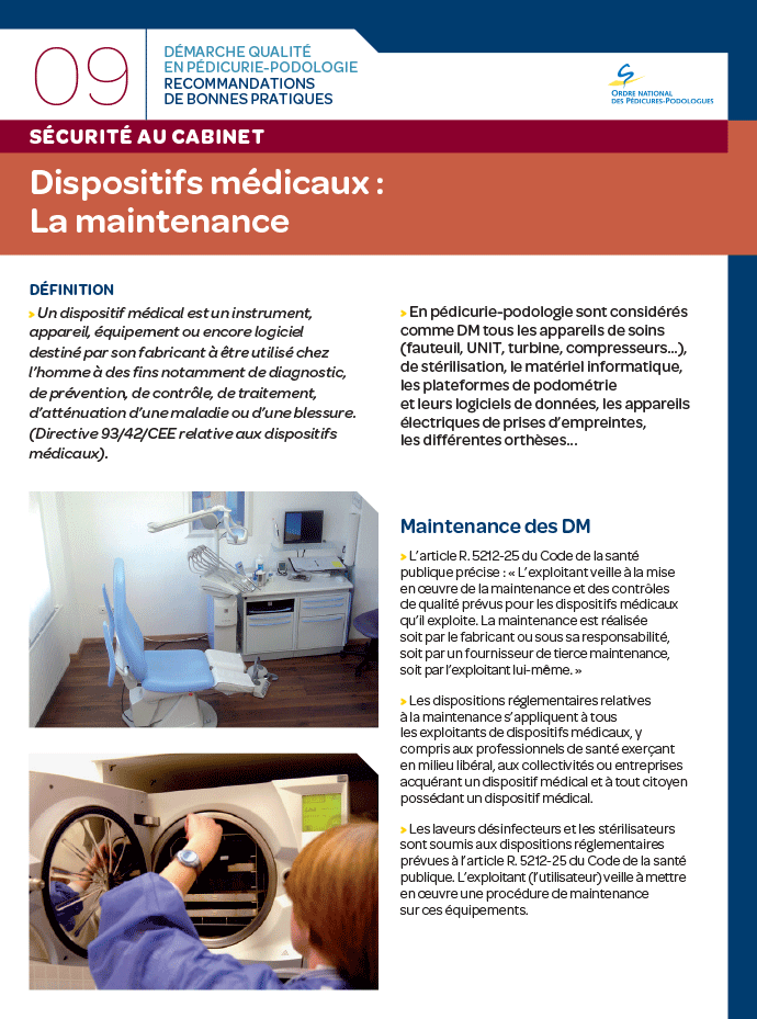 Dispositifs médicaux : la maintenance